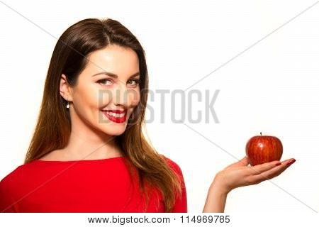 Positive Female Biting A Big Red Apple Fruit Smiling On White Background Holding