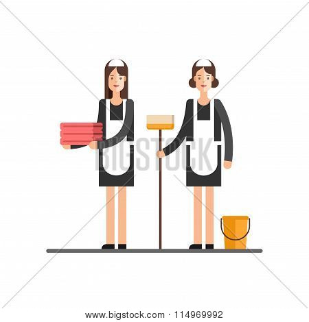 Cleaning Service Cleaning Womans in Classic Maid Dress