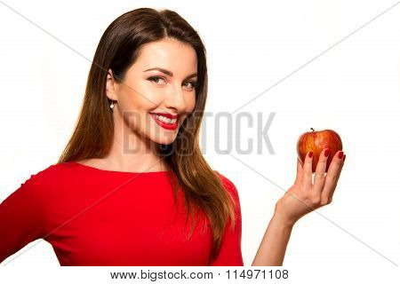 Positive Female Biting A Big Red Apple Fruit Smiling On White Background Smiling