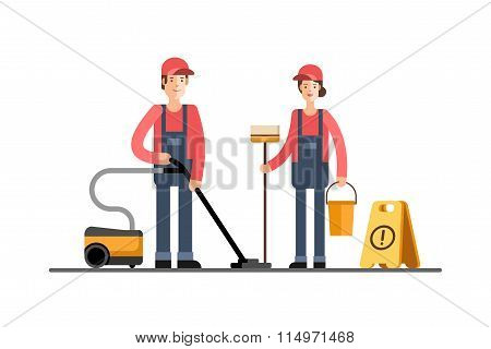 Cleaning Company Service Young Cleaner Woman and Man in Uniform