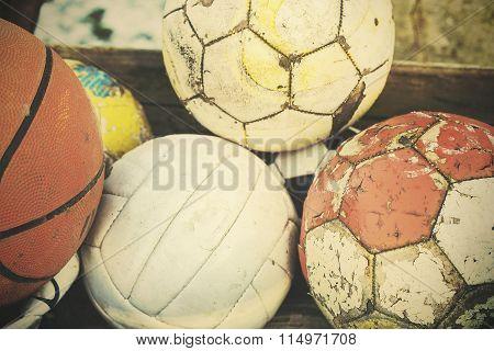 Vintage Old Film Stylized Used Balls In Basket.