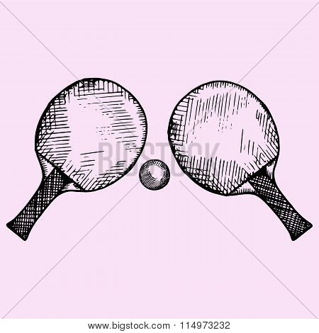 Two rackets and ball for playing table tennis or ping-pong