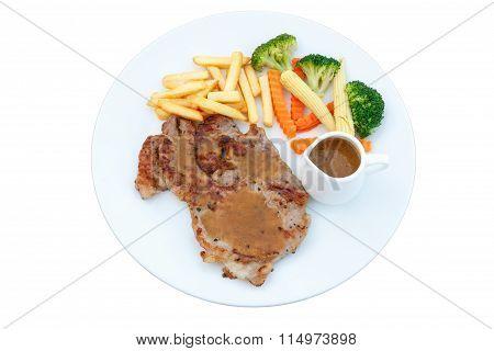 Grilled Pork Steak With Vegetable On Dish, Bbq Steak, Healthy Food.