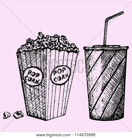 set cinema popcorn and soda