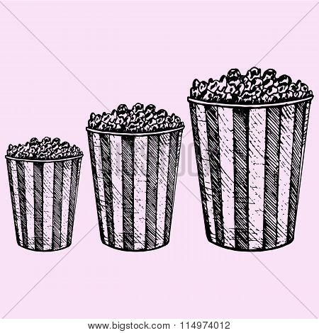 set popcorn in cardboard box for cinema