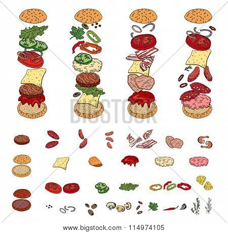 Set with different burger ingredients. Objects isolated on white. For your design, announcements, cards, posters, restaurant and cafe menu.