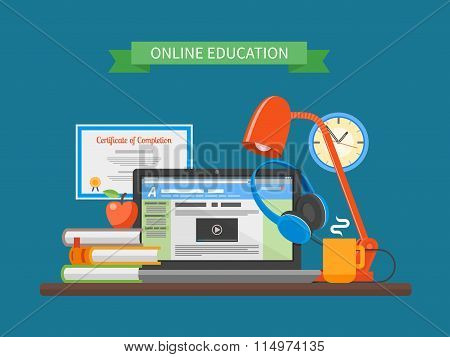 Online education concept. Vector illustration in flat style. Internet training courses design elemen