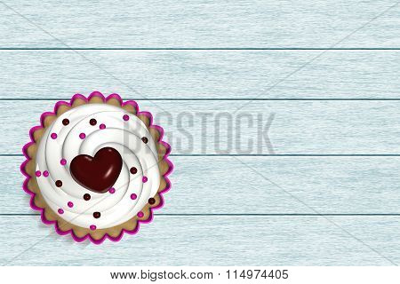 Cupcakes Lying On Wooden Desk
