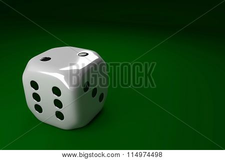 White Dice Lying On Green Table