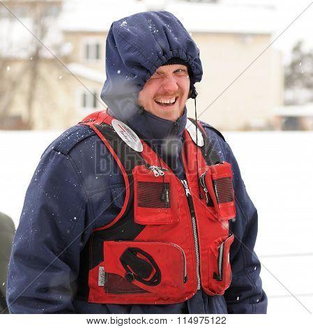 Orel, Russia - January 19, 2016: Russian Epiphany Feast. Rescue Service Man In Uniform Smiling