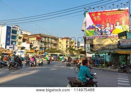 HO CHI MINH CITY, VIETNAM - JAN 14, 2016: Motorcycle traffic in Ho Chi Minh city. Is located in the South of Vietnam, is the country's largest city, population 8 million.