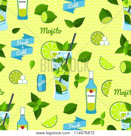 Mojito Cocktail, Seamless Pattern.