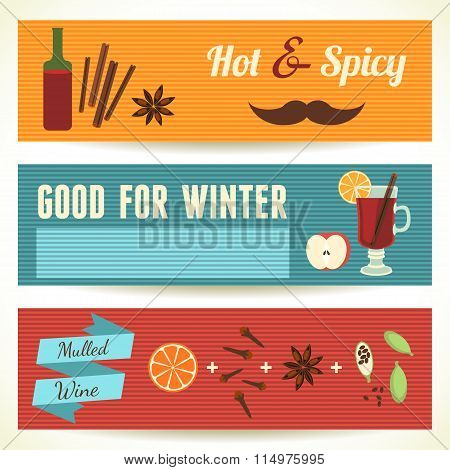 Mulled Wine Theme, Set of Horizontal Banners. Vector Illustration, eps10.