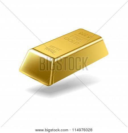 Fine gold ingot isolated on white background
