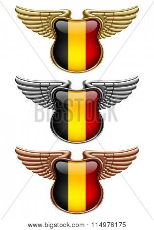 Gold, silver and bronze award signs with wings and Belgium state flag. Vector illustration