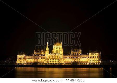 The Hungarian Parliament At Night