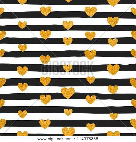 Seamless pattern of gold hearts.