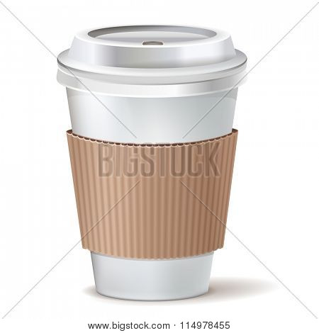 Coffee to go paper cup with lid. Vector icon.