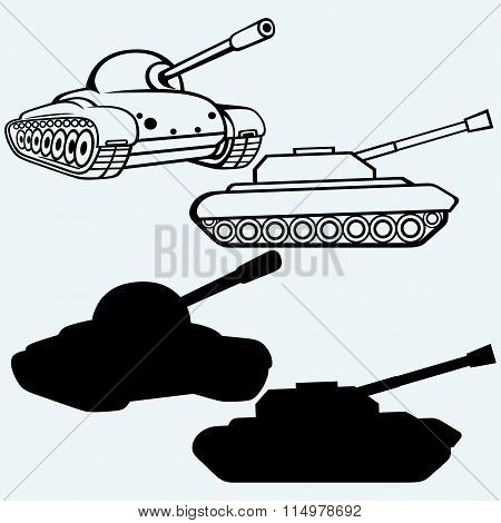 Tank. Set of military vehicles