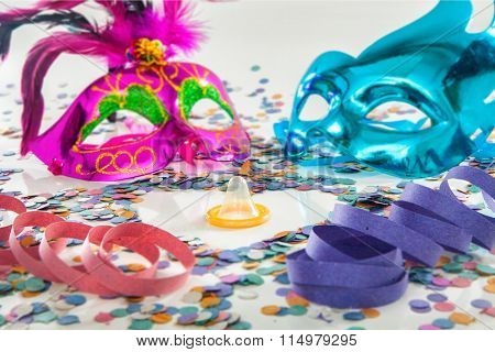 Carnival love protection theme - Condom (contraceptive rubber)