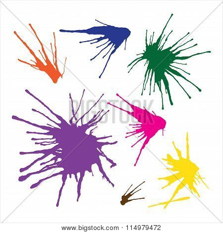 Paint Splashes Set For Design Use In Vector Format. Color Can Be Changed By One Click