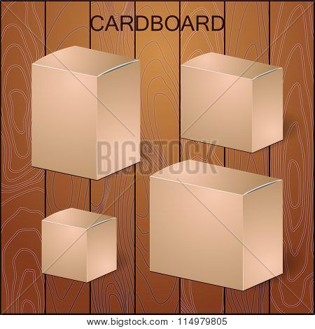 Set Of Cardboard Package Isolated Box On The Wood Background. Mock Up, Template. Stock Vector