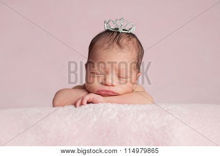 Newborn Baby Girl Wearing A Rhinestone Princess Crown