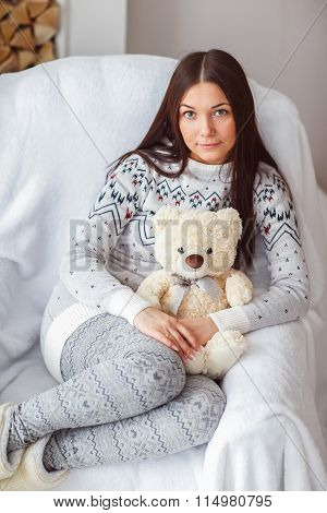 Youngl Girl With A Teddy Bear.