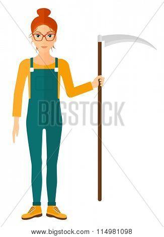 Farmer with scythe.