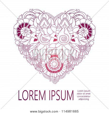 Stock Vector Doodle Floral Heart With Place For Text. Template