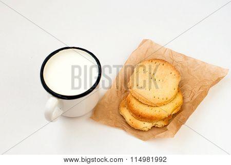 Homemade Sugar Cookies And A Mug Of Milk