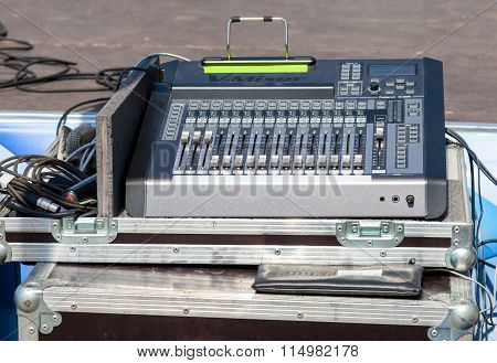 Audio Sound Mixer With Buttons And Sliders. Equipment For Concerts