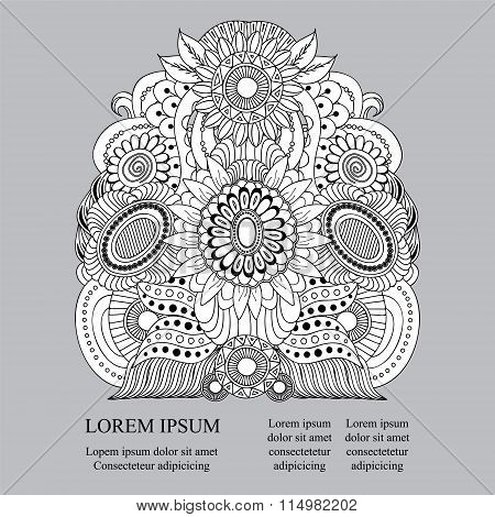Stock Vector Orient Doddle Floral Pattern With Place For Texe, Black And White