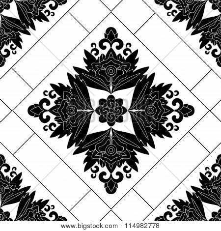 Stock Vector Seamless Orient Floral Pattern, Black And White