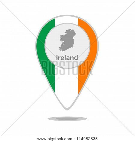 A pointer with map and flag of Ireland