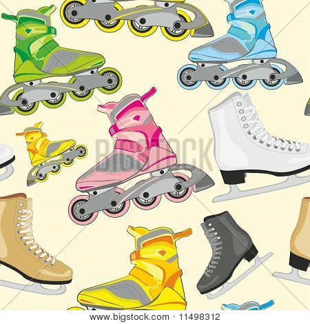 isolated roller and ice skates