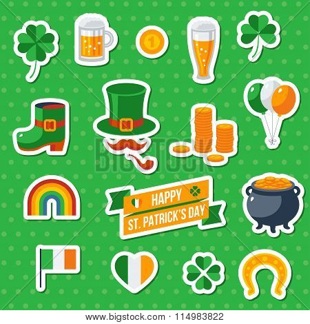 Set Of Happy St. Patricks Day Flat Icons