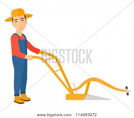 Farmer with plough.