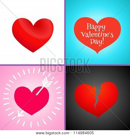 Red hearts. Holiday vector symbol