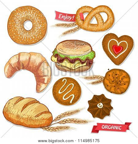 Assorted pastry set illustration with cookies, bread, bagel, croissant, pretzel and burger, decorated with  wheat ears and ribbons.