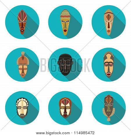 flat icons of African masks