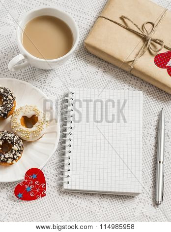 Coffee, Donuts With Chocolate And Lemon Glaze, Homemade Valentine's Day Gift In Kraft Paper, Red Pap