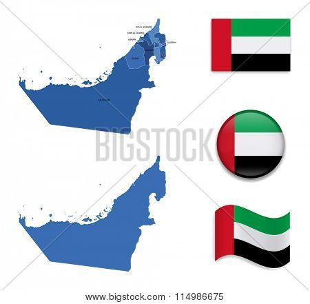 High Detailed Map of United Arab Emirates With Flag Icons