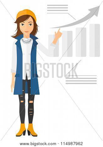Woman presenting report.