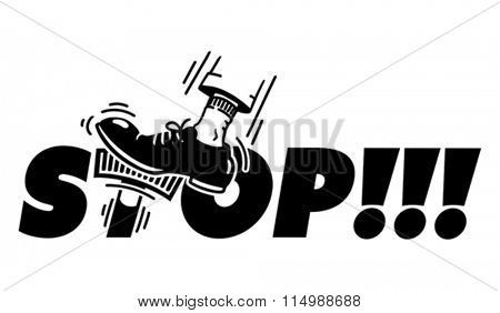 STOP! - jam on the brakes. Man foot pushing on the brake pedal which is stylized T-letter inside STOP word. Cartoon style illustration. EPS 8, CMYK