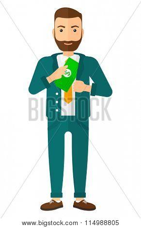 Man putting money in pocket.