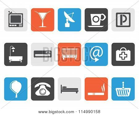 Flat Hotel and motel icons