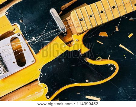 Old Broken Electric Guitar