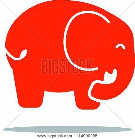 red elephant icon flat style