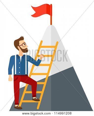 Man climbing on mountain.
